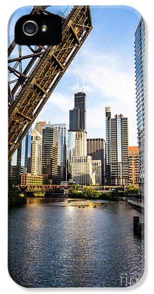 Sears iPhone 5 Cases - Chicago Downtown and Kinzie Street Railroad Bridge iPhone 5 Case by Paul Velgos
