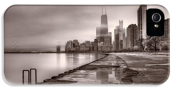 John Hancock Building iPhone 5 Cases - Chicago Foggy Lakefront BW iPhone 5 Case by Steve Gadomski