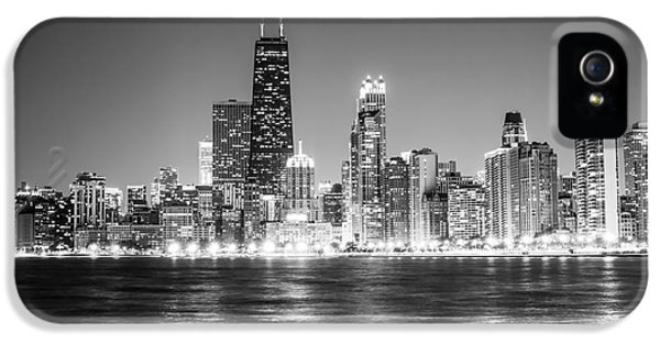 John Hancock Building iPhone 5 Cases - Chicago Lakefront Skyline Black and White Photo iPhone 5 Case by Paul Velgos