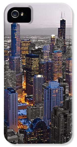 Sears iPhone 5 Cases - Chicago Loop Sundown BW Color Blend iPhone 5 Case by Steve Gadomski