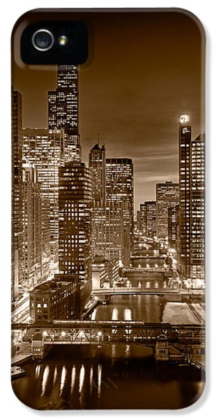 Sears iPhone 5 Cases - Chicago River City View B and W iPhone 5 Case by Steve gadomski