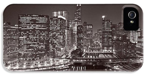 Sears iPhone 5 Cases - Chicago River Panorama B W iPhone 5 Case by Steve Gadomski