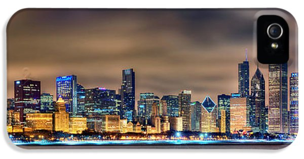 Chicago Skyline iPhone 5 Cases - Chicago Skyline at NIGHT Panorama Color 1 to 3 Ratio iPhone 5 Case by Jon Holiday