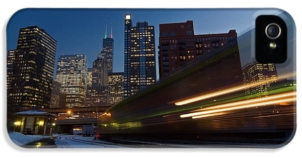 Sears Tower iPhone 5 Cases - Chicago Train Blur iPhone 5 Case by Sven Brogren