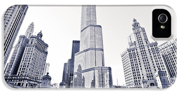 Wrigley iPhone 5 Cases - Chicago Trump Tower and Wrigley Building iPhone 5 Case by Paul Velgos