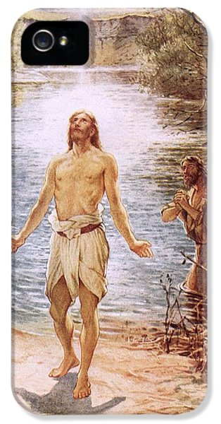 Baptize iPhone 5 Cases - Christ baptised by John the Baptist iPhone 5 Case by William Brassey Hole