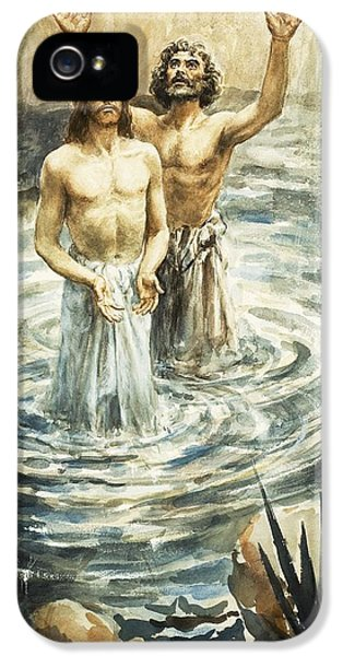 John The Baptist iPhone 5 Cases - Christ being baptised iPhone 5 Case by Henry Coller