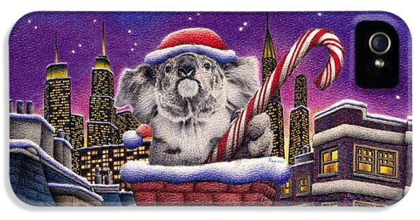 Christmas Koala In Chimney IPhone 5 / 5s Case by Remrov