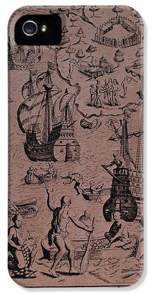 Christopher Colombus Discovering The Islands Of Margarita And Cubagua Where They Found Many Pearls IPhone 5 / 5s Case by Spanish School