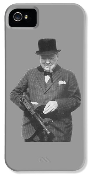 War iPhone 5 Cases - Churchill Posing With A Tommy Gun iPhone 5 Case by War Is Hell Store
