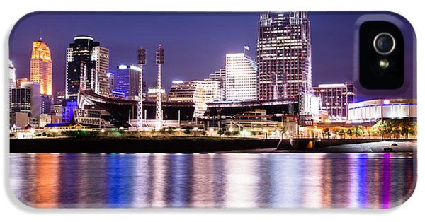 Ballpark iPhone 5 Cases - Cincinnati at Night Downtown City Buildings iPhone 5 Case by Paul Velgos