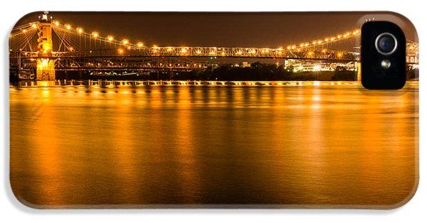 2012 iPhone 5 Cases - Cincinnati Roebling Bridge at Night iPhone 5 Case by Paul Velgos