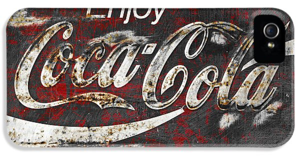 Closeup iPhone 5 Cases - Coca Cola Grunge Sign iPhone 5 Case by John Stephens