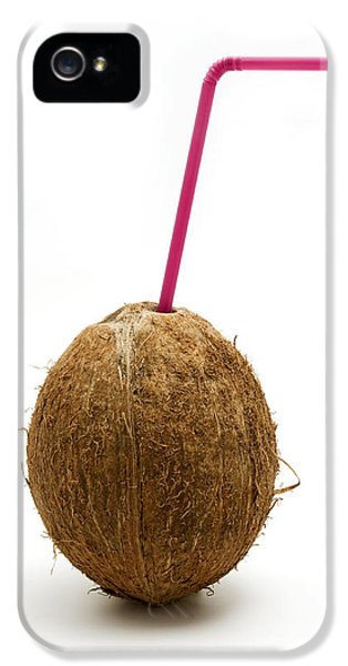 Cut-out iPhone 5 Cases - Coconut with a straw iPhone 5 Case by Fabrizio Troiani
