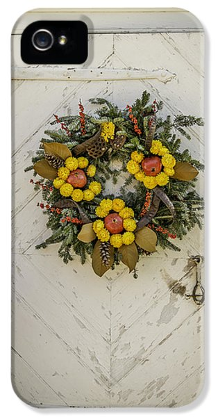Potting Shed iPhone 5 Cases - Colonial Nursery Door at Christmas iPhone 5 Case by Teresa Mucha