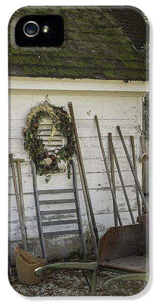 Potting Shed iPhone 5 Cases - Colonial Nursery Potting Shed iPhone 5 Case by Teresa Mucha