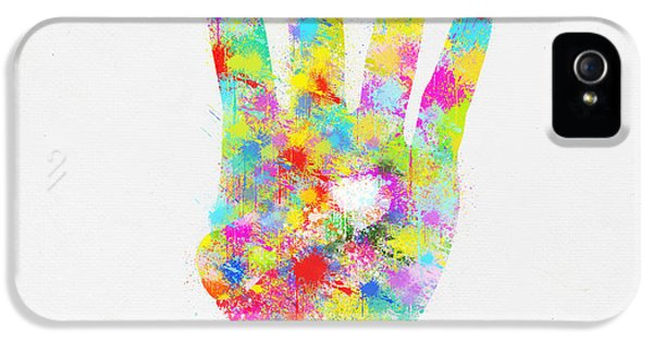 Arms iPhone 5 Cases - Colorful Painting Of Hand Pointing Four Finger iPhone 5 Case by Setsiri Silapasuwanchai