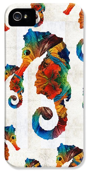 Colorful Seahorse Collage Art By Sharon Cummings IPhone 5 / 5s Case by Sharon Cummings