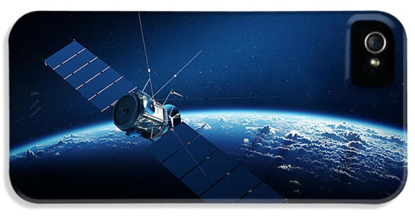 Communications Satellite Orbiting Earth IPhone 5 / 5s Case by Johan Swanepoel