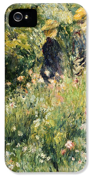 Roses iPhone 5 Cases - Conversation in a Rose Garden iPhone 5 Case by Pierre Auguste Renoir