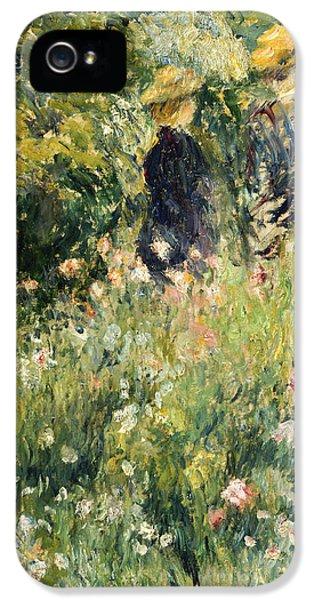 Garden iPhone 5 Cases - Conversation in a Rose Garden iPhone 5 Case by Pierre Auguste Renoir