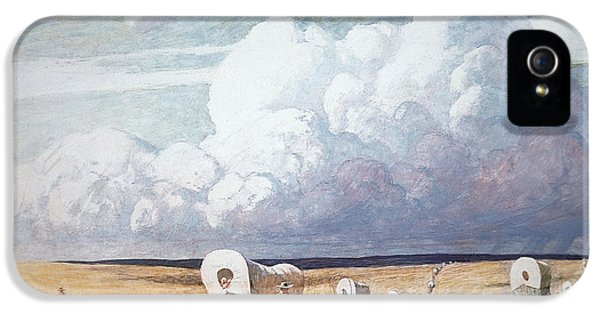 Storm iPhone 5 Cases - Covered Wagons Heading West iPhone 5 Case by Newell Convers Wyeth
