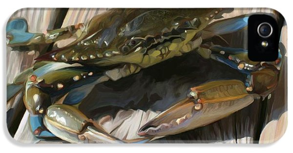 Blue Crab iPhone 5 Cases - Crabbie iPhone 5 Case by Patti Siehien