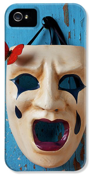 Anger iPhone 5 Cases - Crying mask and red butterfly iPhone 5 Case by Garry Gay