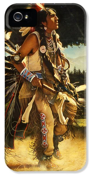 Native American Indian iPhone 5 Cases - Dance of His Fathers iPhone 5 Case by Greg Olsen