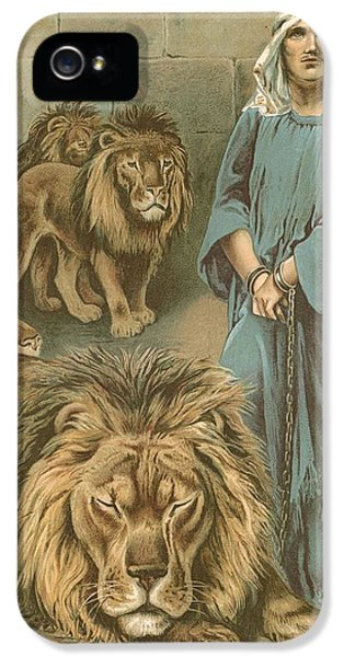 Cell iPhone 5 Cases - Daniel in the lions den iPhone 5 Case by John Lawson
