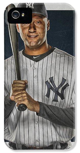 Derek Jeter New York Yankees Art IPhone 5 / 5s Case by Joe Hamilton