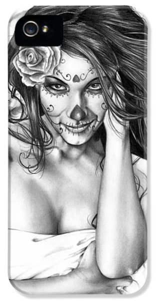 Black And White iPhone 5 Cases - Dia De Los Muertos 2 iPhone 5 Case by Pete Tapang