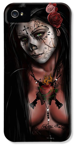 Black And White iPhone 5 Cases - Dia De Los Muertos 3 iPhone 5 Case by Pete Tapang