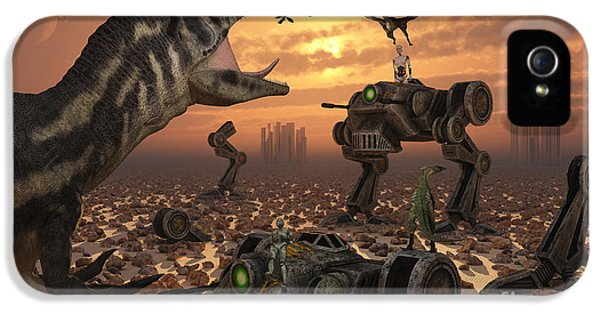Cyborg iPhone 5 Cases - Dinosaurs And Robots Fight A War iPhone 5 Case by Mark Stevenson