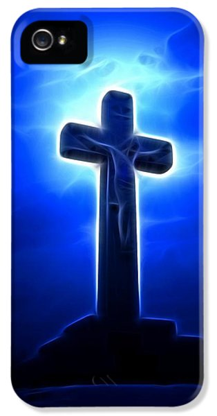 Happy Jesus iPhone 5 Cases - Dramatic Jesus Crucifixion iPhone 5 Case by Pamela Johnson