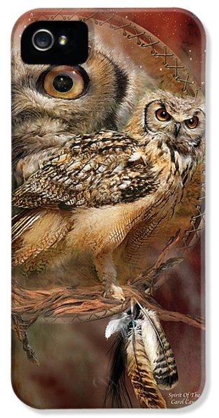 Owl iPhone 5 Cases - Dream Catcher - Spirit Of The Owl iPhone 5 Case by Carol Cavalaris