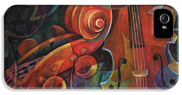 Music iPhone 5 Cases - Dynamic Duo - Cello and Scroll iPhone 5 Case by Susanne Clark