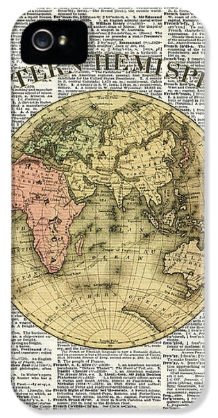 Eastern Hemisphere Earth Map Over Dictionary Page IPhone 5 / 5s Case by Jacob Kuch