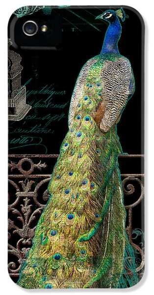 Glamorous iPhone 5 Cases - Elegant Peacock Iron Fence w Vintage Scrolls 4 iPhone 5 Case by Audrey Jeanne Roberts