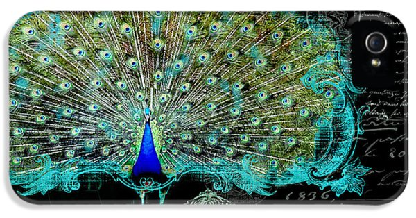 Elegant Peacock W Vintage Scrolls 3 IPhone 5 / 5s Case by Audrey Jeanne Roberts