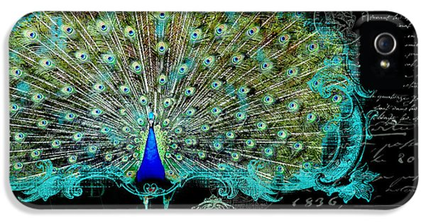 Glamorous iPhone 5 Cases - Elegant Peacock w Vintage Scrolls 3 iPhone 5 Case by Audrey Jeanne Roberts