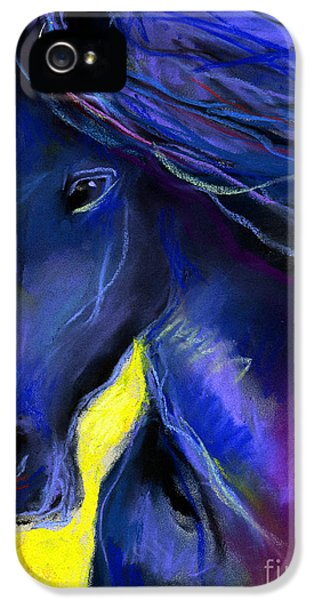 Equine iPhone 5 Cases - Fantasy Friesian Horse painting print iPhone 5 Case by Svetlana Novikova
