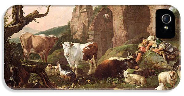 Farm Animals In A Landscape IPhone 5 / 5s Case by Johann Heinrich Roos