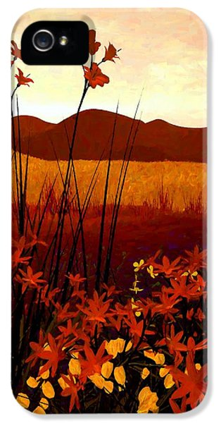 Landscape iPhone 5 Cases - Field of Flowers iPhone 5 Case by Cynthia Decker