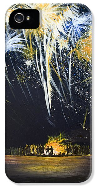 Firework iPhone 5 Cases - Fireworks Bonfire on the West bar iPhone 5 Case by Charles Harden