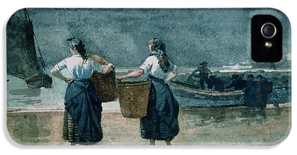 Homer iPhone 5 Cases - Fisher Girls by the Sea iPhone 5 Case by Winslow Homer
