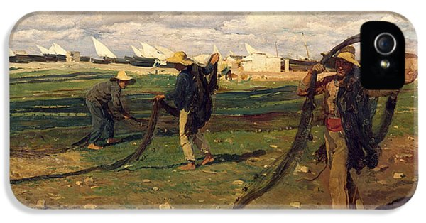 End Of Days iPhone 5 Cases - Fisherman Taking up Nets iPhone 5 Case by Joaquin Sorolla y Bastida