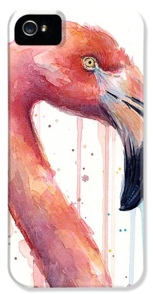 Flamingo Painting Watercolor - Facing Right IPhone 5 / 5s Case by Olga Shvartsur