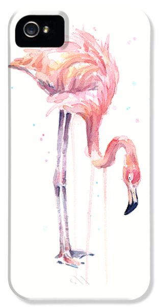 Flamingo Watercolor - Facing Left IPhone 5 / 5s Case by Olga Shvartsur