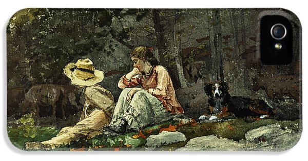 Homer iPhone 5 Cases - Flock of Sheep Houghton Farm iPhone 5 Case by Winslow Homer